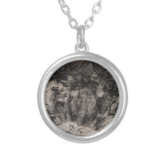 Truth Has Died by Francisco Goya Round Pendant Necklace