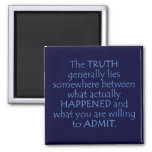 Truth lies somewhere between what happened refrigerator magnet
