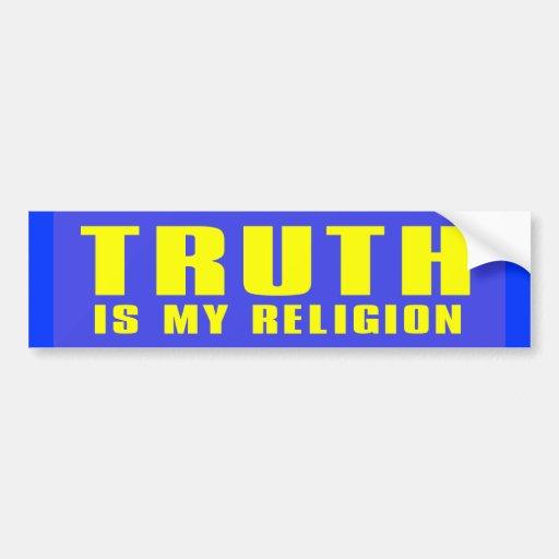truth my religion car bumper sticker