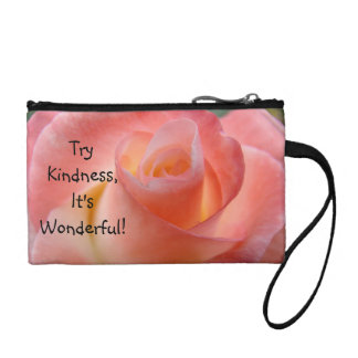 Try Kindness It s Wonderful Coin Purse Pink Rose
