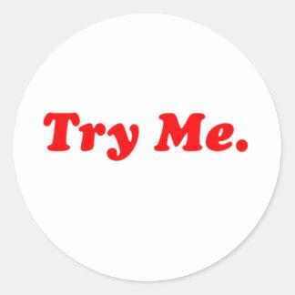 try me round sticker
