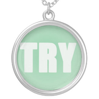 TRY on a Green Background Round Pendant Necklace
