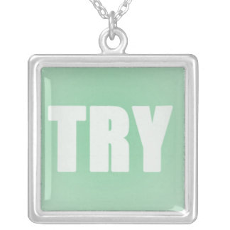 TRY on a Green Background Square Pendant Necklace