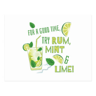 Try Rum, Mint & Lime Postcard