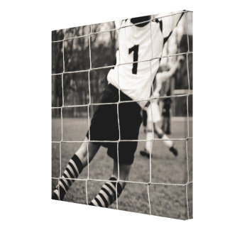Trying to protect the team with the net in focus canvas print
