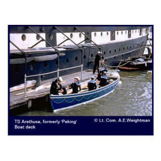 TS Arethusa, formerly 'Peking'  boat deck Postcard