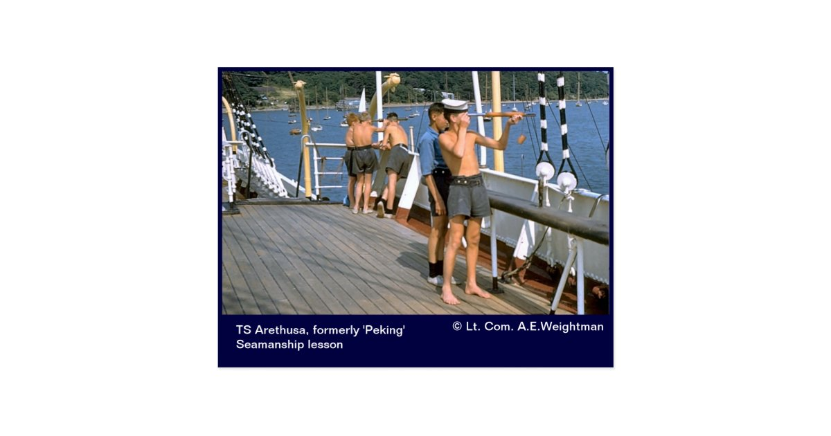 Ts arethusa formerly 39 peking 39 seamanship lesson postcard for Ts arethusa pictures