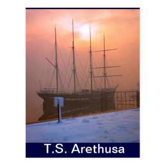 TS Arethusa, Sunset and snow Postcard