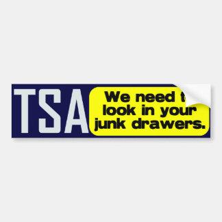 TSA: Look in your Junk Drawers Bumper Sticker