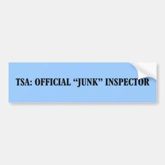 TSA Official Junk Inspector Bumper Sticker