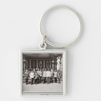 Tsar Nicholas II (1868-1918) standing in the garde Silver-Colored Square Key Ring