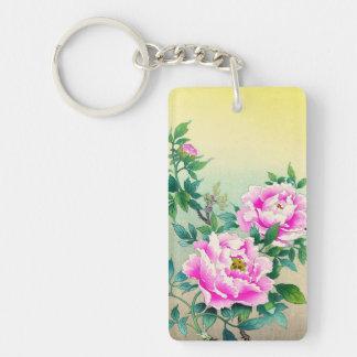 Tsuchiya Koitsu Peonies japanese flowers fine art Double-Sided Rectangular Acrylic Key Ring