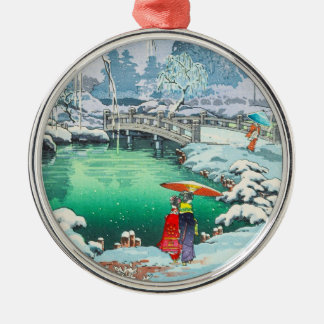 Tsuchiya Koitsu Sketches of Famous Places In Japan Silver-Colored Round Decoration