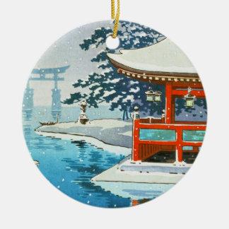 Tsuchiya Koitsu Snowy Miyajima winter scenery art Double-Sided Ceramic Round Christmas Ornament
