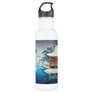 Tsuchiya Koitsu Snowy Miyajima winter scenery art 24oz Water Bottle