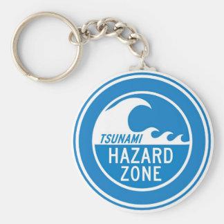 TSUNAMI HAZARD ZONE BASIC ROUND BUTTON KEY RING