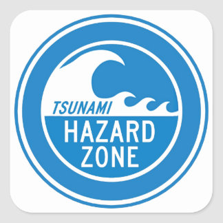 TSUNAMI HAZARD ZONE SQUARE STICKER