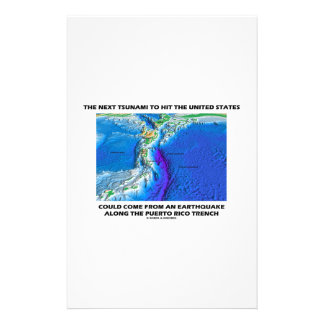 Tsunami Puerto Rico Trench (Plate Tectonics Earth) Personalized Stationery