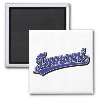 Tsunami script logo in Blue Square Magnet