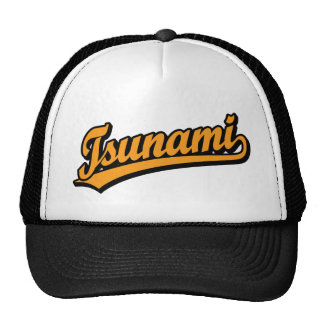 Tsunami script logo in Orange Cap