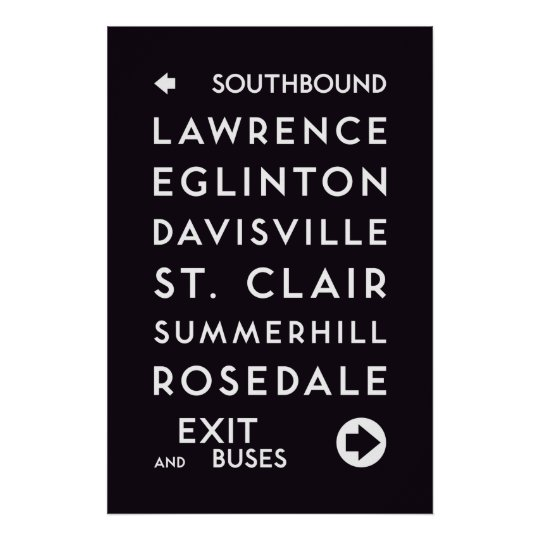 TTC - Southbound Stations Poster