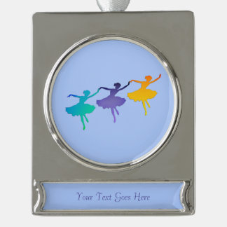 Tthree Dancers on Pale Blue Personalized Silver Plated Banner Ornament