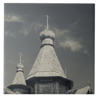 Ttraditional wooden Russian Orthodox church 3 Large Square Tile