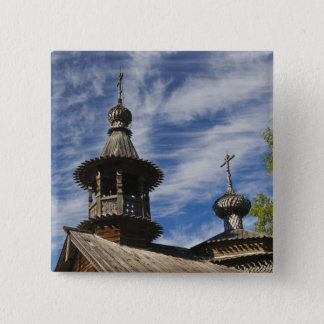 Ttraditional wooden Russian Orthodox church 4 15 Cm Square Badge