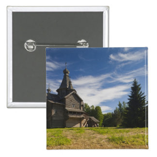 Ttraditional wooden Russian Orthodox church 5 15 Cm Square Badge