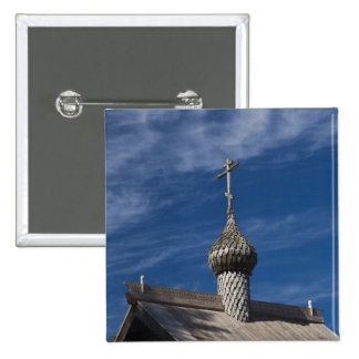 Ttraditional wooden Russian Orthodox church 15 Cm Square Badge