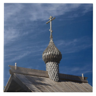 Ttraditional wooden Russian Orthodox church Large Square Tile