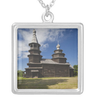Ttraditional wooden Russian Orthodox church Silver Plated Necklace