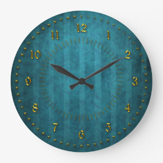 TTurquoise Teal Stripped  Numbered Large Clock