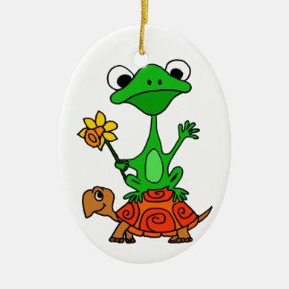 TU- Funny Frog Riding Turtle Cartoon Christmas Ornament