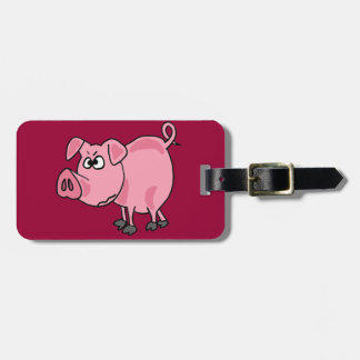 TU- Funny Pink Pig Original Art Luggage Tag