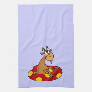 TU- Funny Whatever Floats Your Goat Cartoon Hand Towel