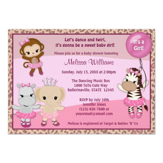 Tu Tu Cute Baby Shower invitation MONKEY GIRL