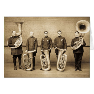 Tuba Cops Vintage Police Brass Band (Sepia) Greeting Card