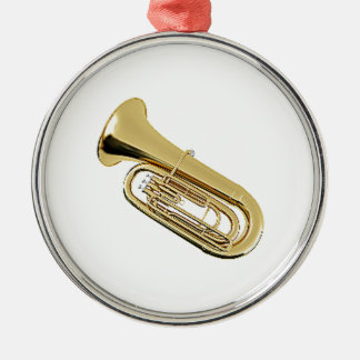 """Tuba"" design gifts and products Silver-Colored Round Decoration"