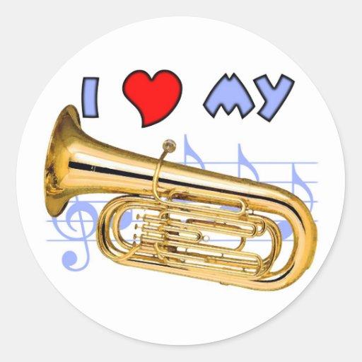 Tuba Love Round Sticker