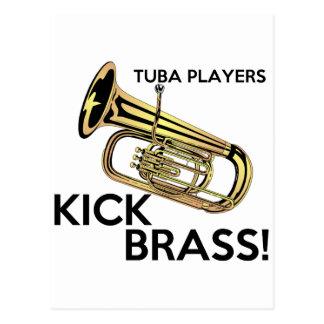 Tuba Players Kick Brass Postcard