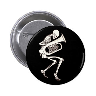 Tuba Playing Skeleton 6 Cm Round Badge