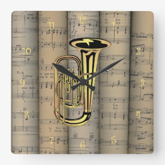 Tuba ~ Rolled Sheet Music Background ~ Musical Square Wall Clock