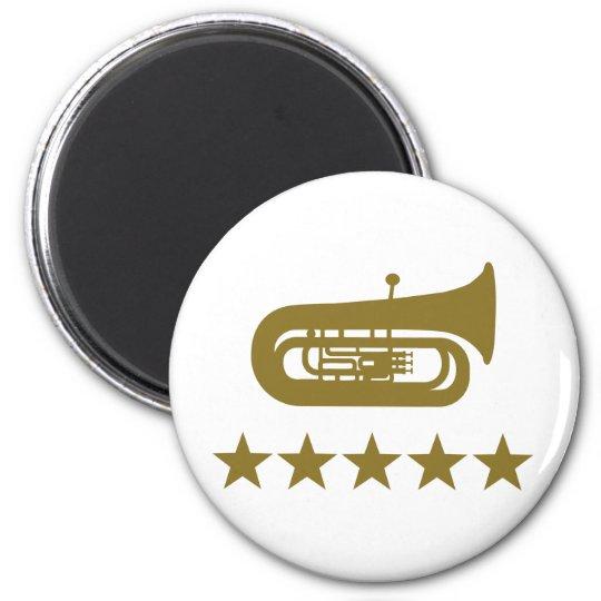 Tuba stars 6 cm round magnet