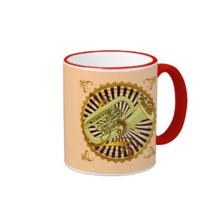 Tuba Swirls Ringer Mug