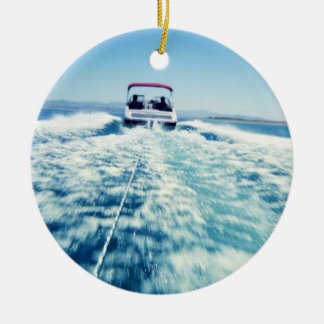 Tubing Behind Speed Boat Christmas Ornament