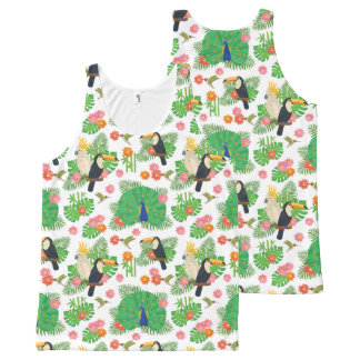 Tucan And Peacock Pattern All-Over Print Tank Top