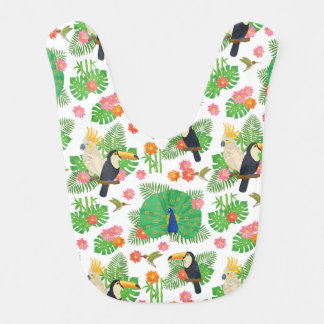 Tucan And Peacock Pattern Bib