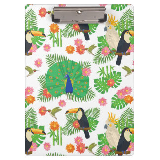 Tucan And Peacock Pattern Clipboard