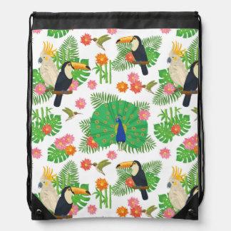Tucan And Peacock Pattern Drawstring Bag